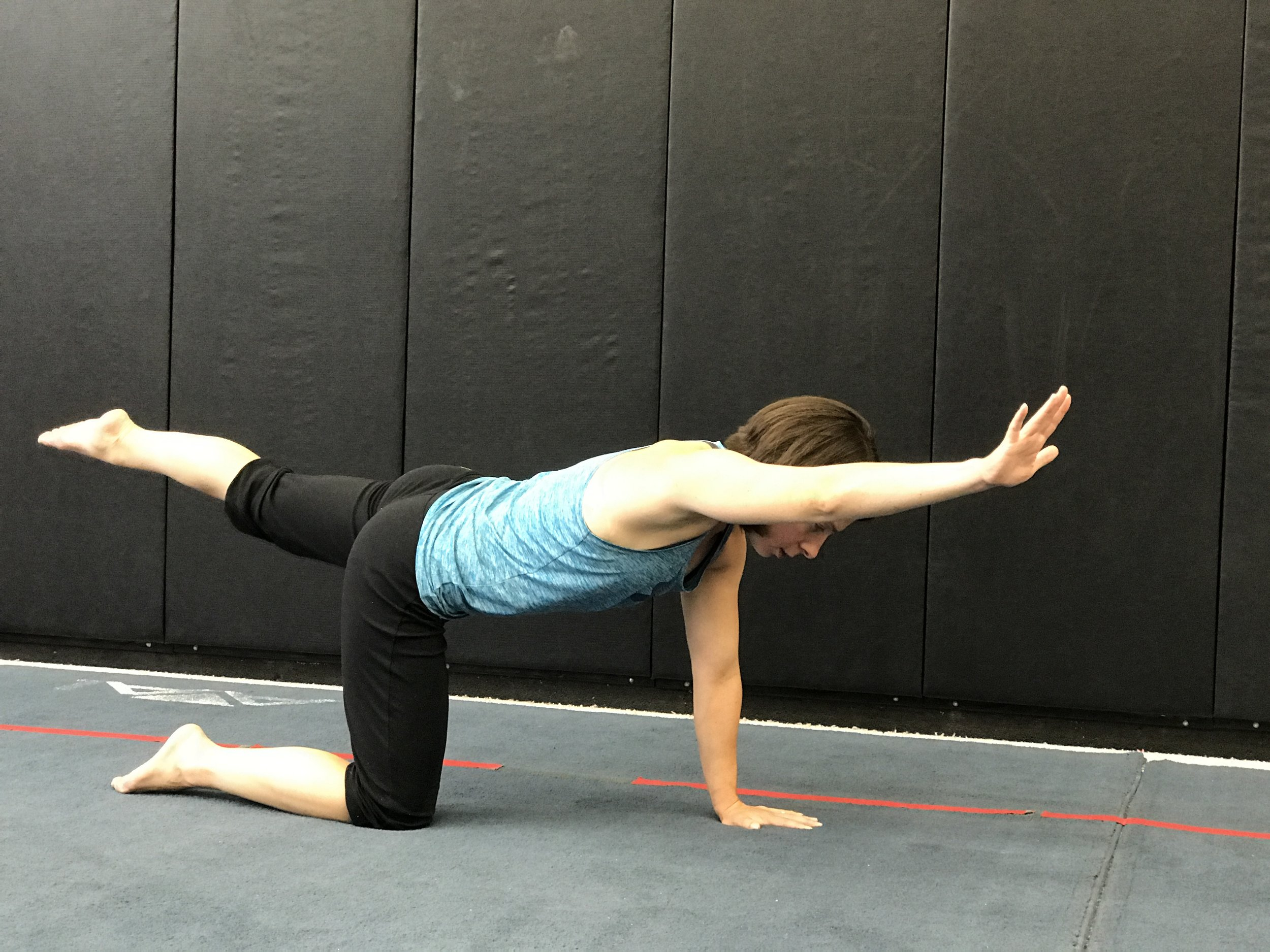 Raise one arm and the opposite leg slowly into the above position. Focus on holding the core tight and do not let the hips twist/rock.  Return to the starting position and then raise the opposite arm/leg.
