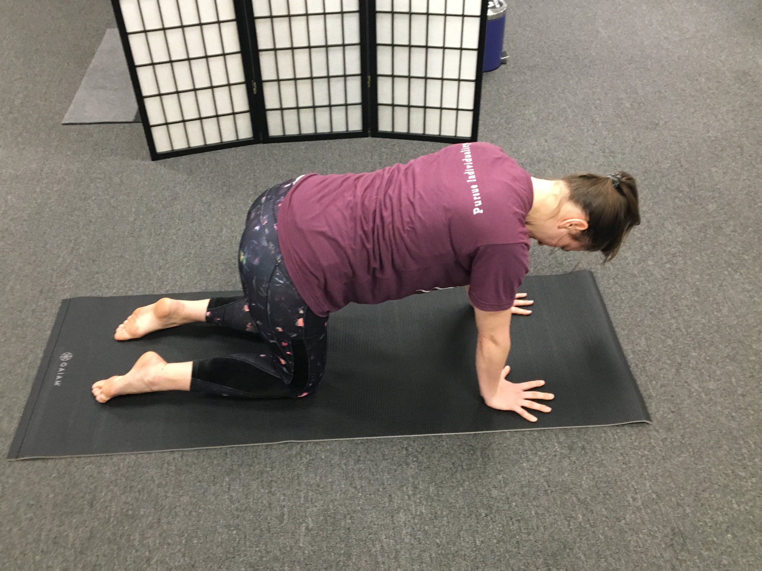 1. - Start in table top position.Hips over knees. Shoulders over hands.