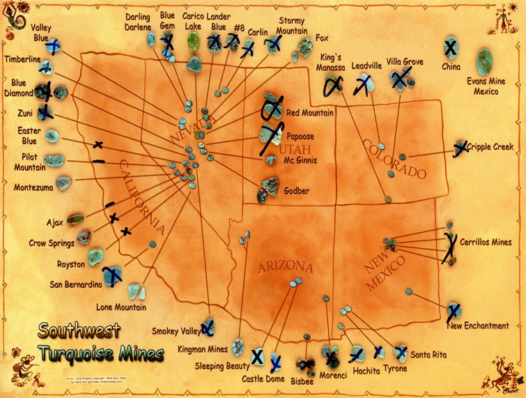 A map of the Southwest American Turquoise mine the owner of the Blue Moon Mine gave me when we first met in 2005. Since that time, the Sleeping Beauty Mine closed in 2012.