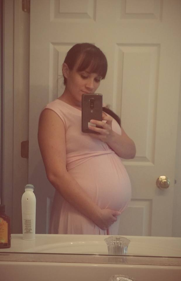 The author at about 7 months pregnant.