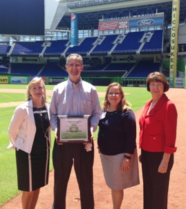 Left to right: DEP Southeast District Former Director, Jill Cheech, Miami Marlins Vice President of Facilities, Jeff King, Florida Recycling Partnership Former Chair, Kim Brunson, Florida Recycling Partnership Exec. Dir., Kenya Cory