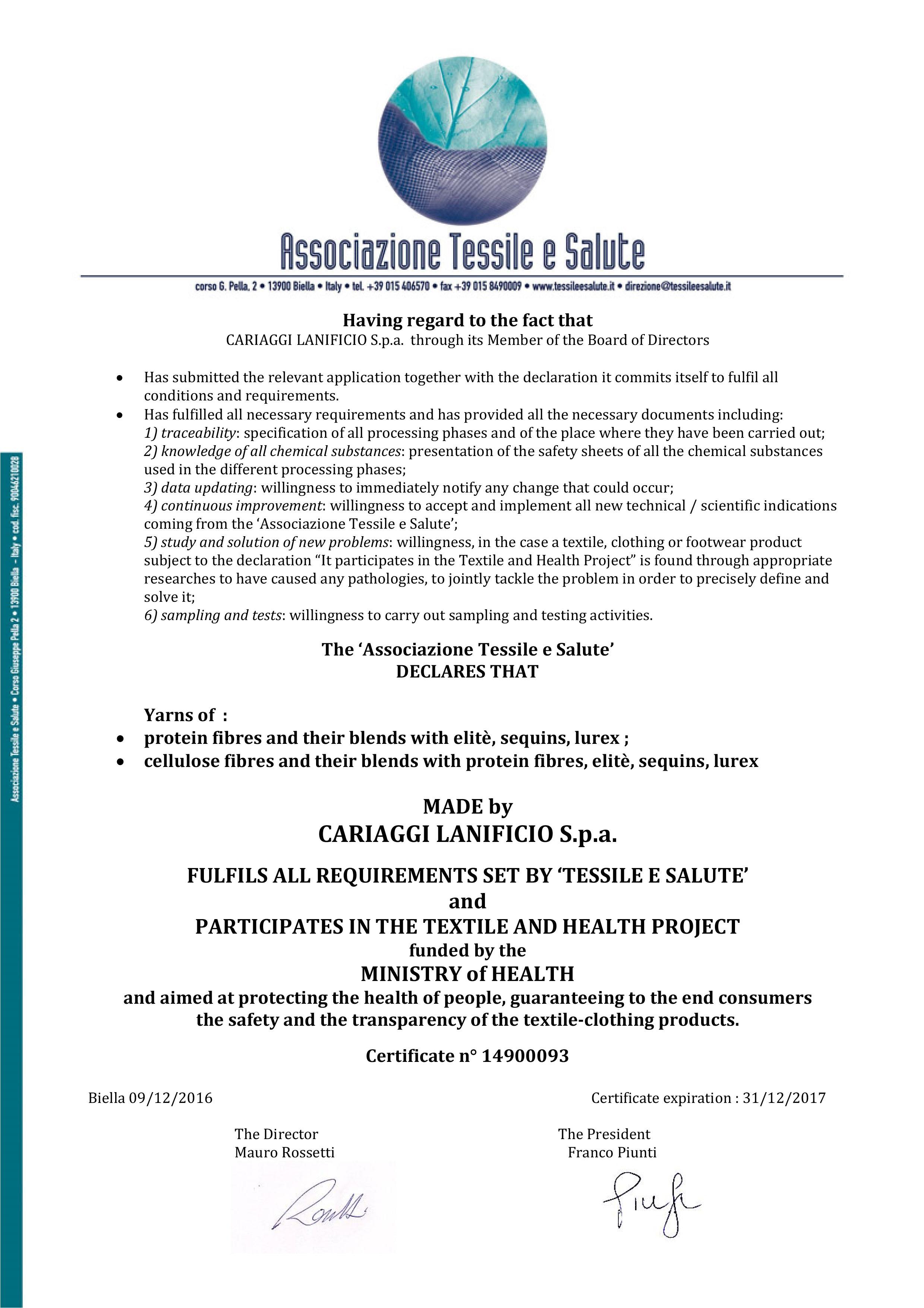Cariaggi Certificate