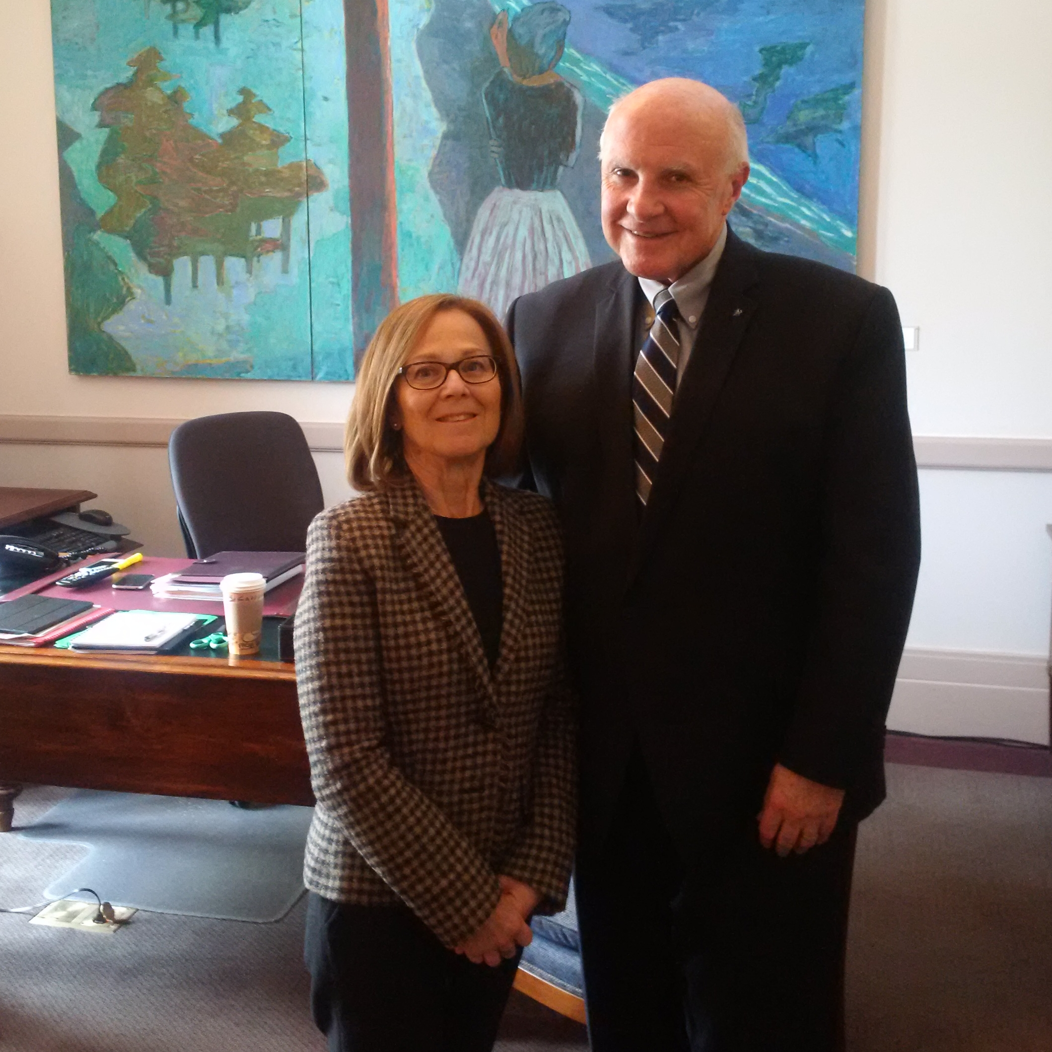 NCACT Spokesperson Gary Grant chatting with Senator Judith Seidman regarding Bill S-5 in Ottawa, February 2017