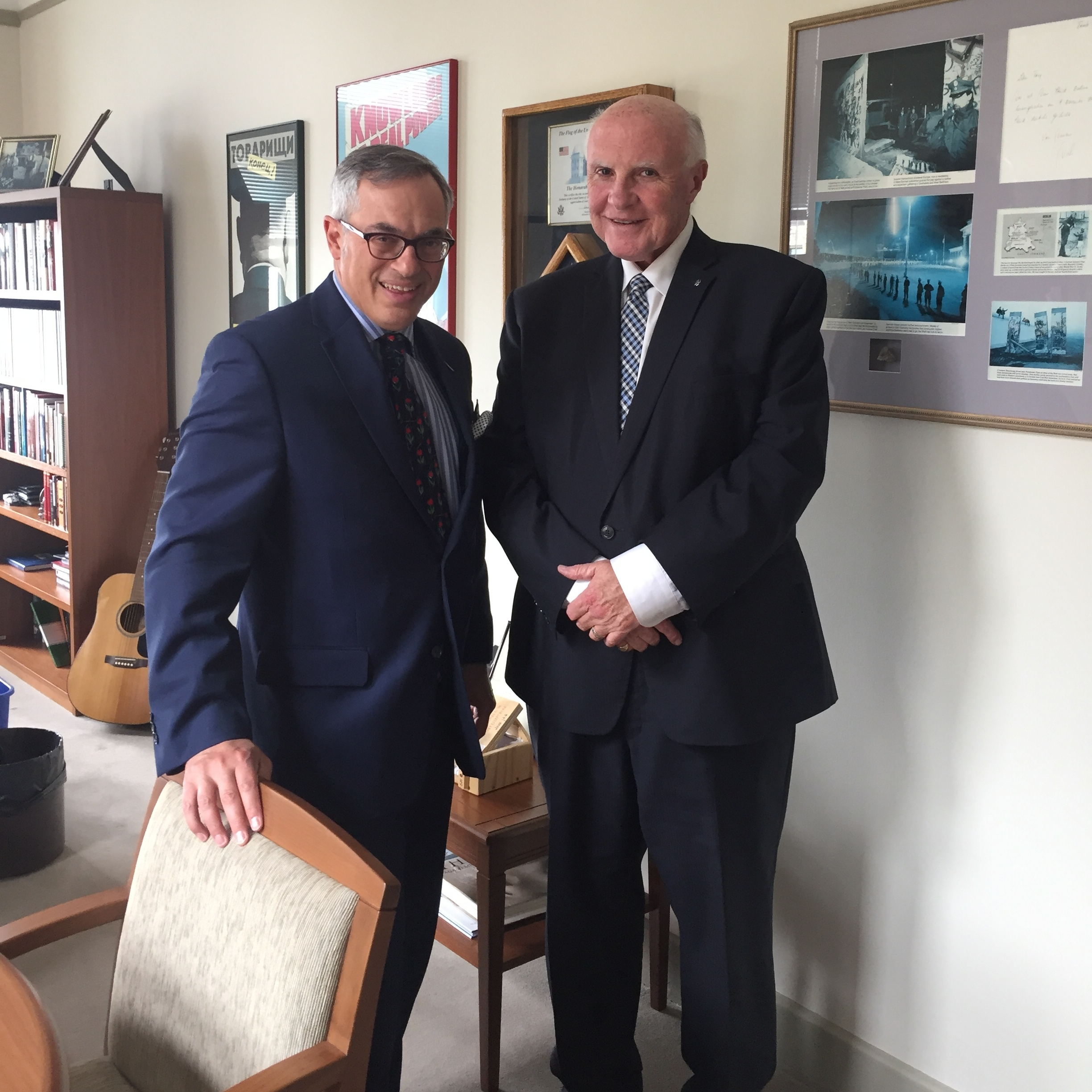 NCACT Spokesperson Gary Grant chatting with Member of Parliament Tony Clement regarding Bill S-5 in Ottawa, May 2017