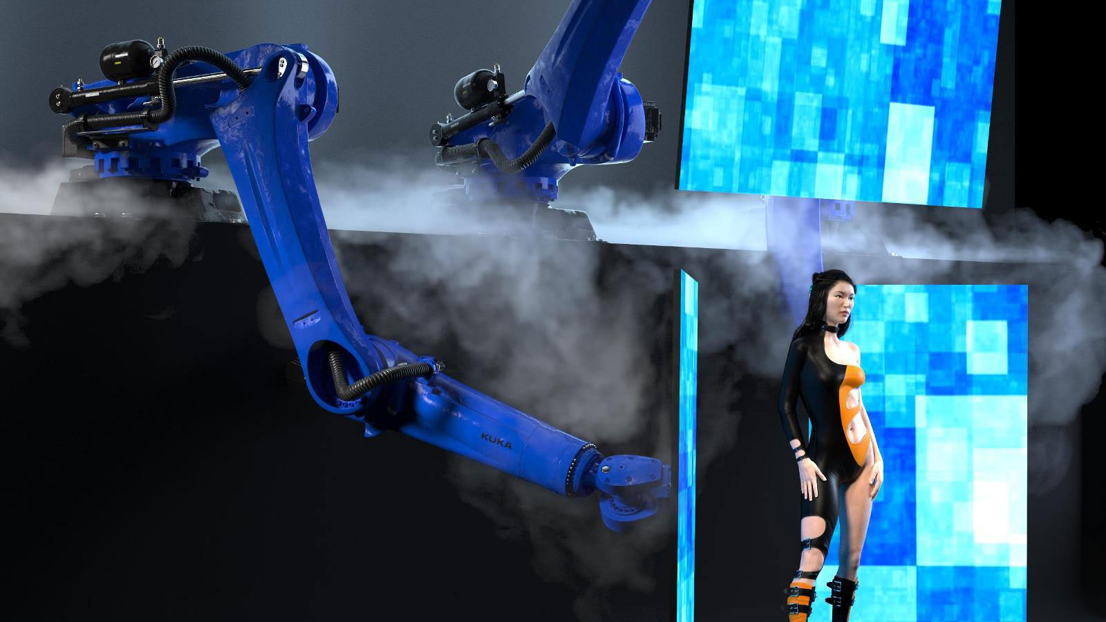 3 robots moving screen background, integrated in stage show