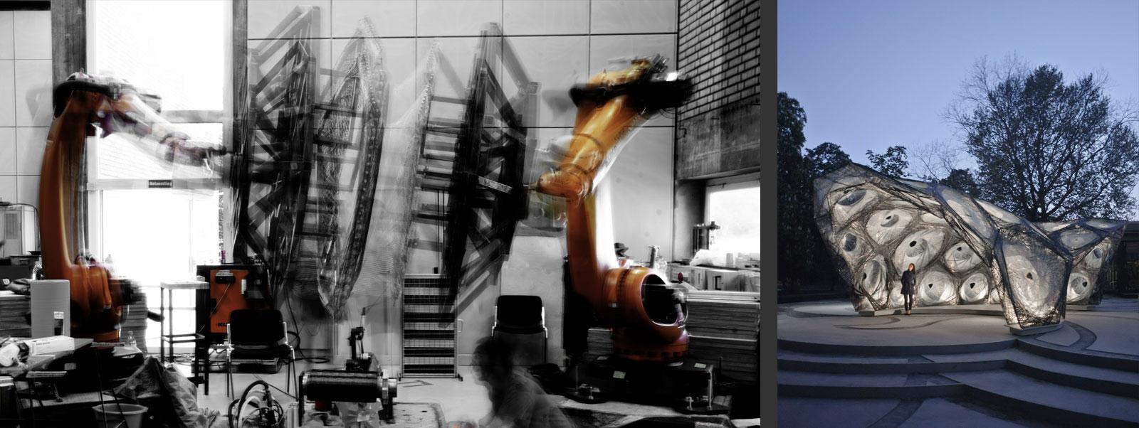 2 collaborative robots use carbon fibers for weaving pavilion structures. (ICD Stuttgart)