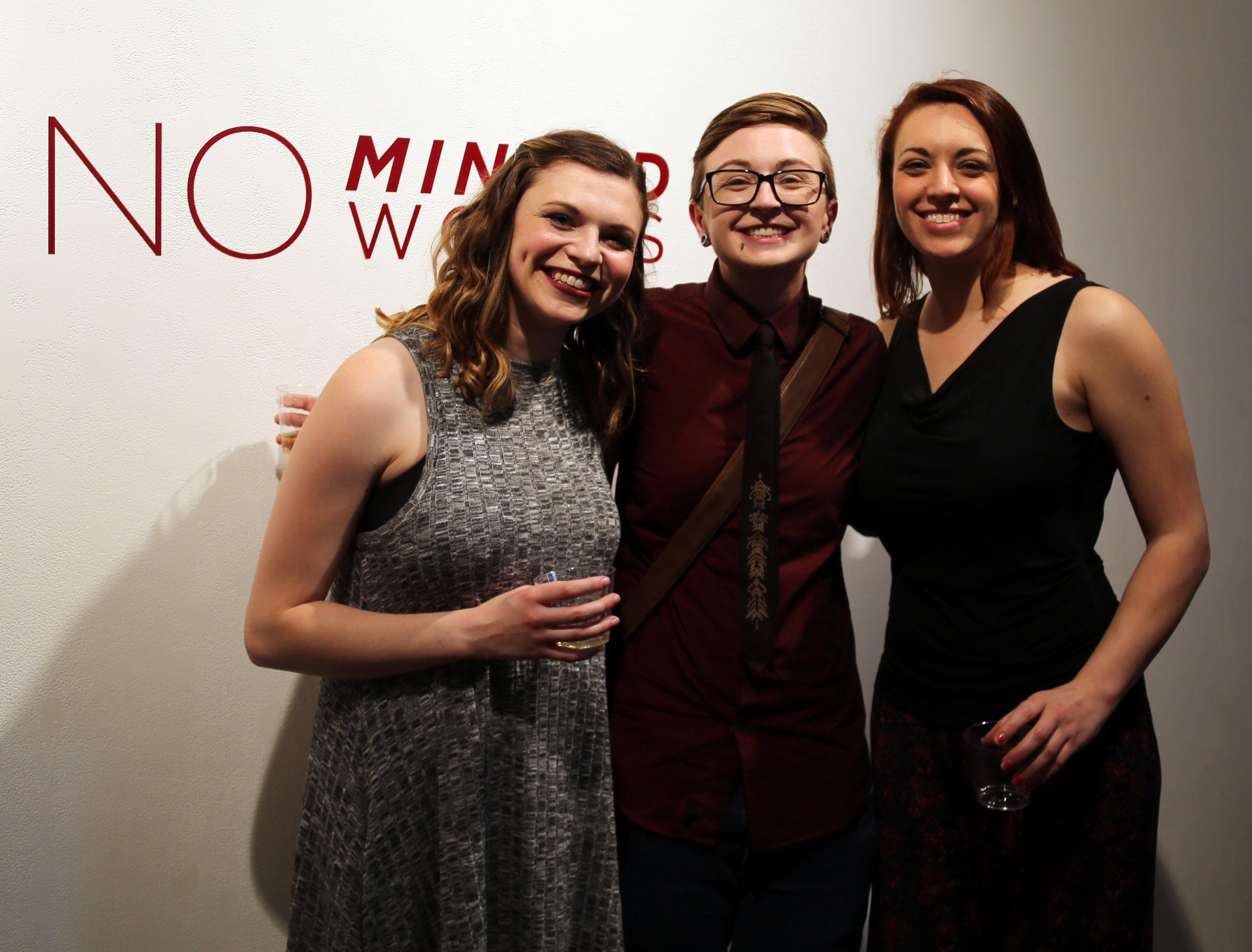 Jess Vandenberg (middle), FEMMEmphis logo and No Minced Words graphic designer