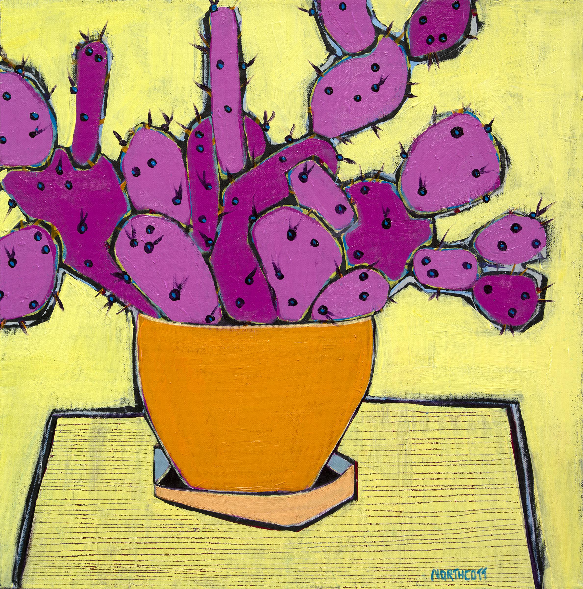 Pink Cactus in an Orange Pot