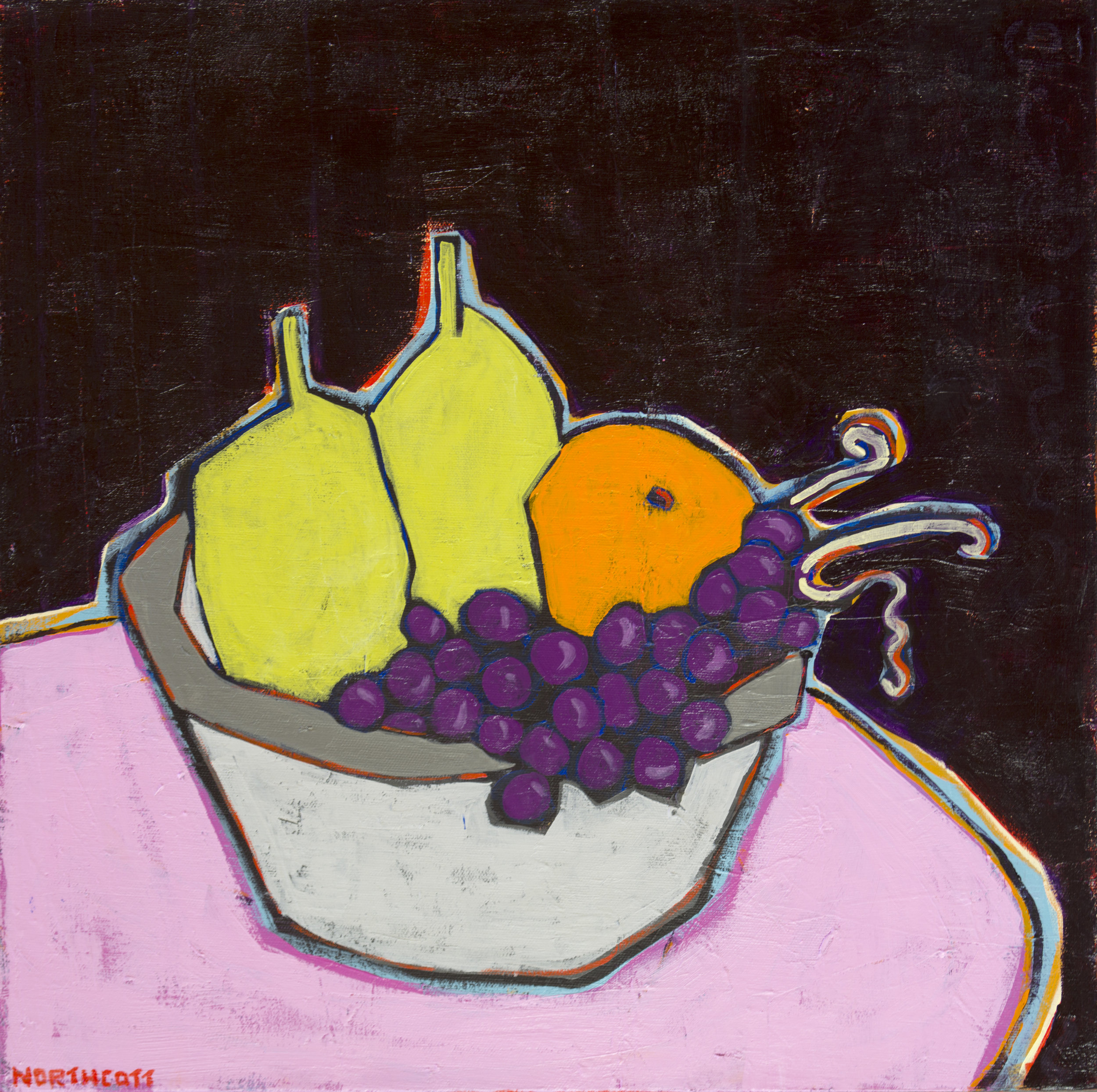 "Fruit on Pink Table | 18"" X 18"""