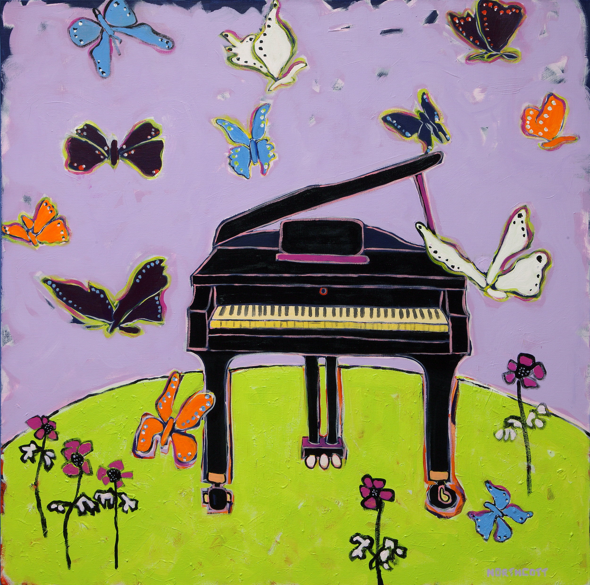 Black Pianos with Butterflies
