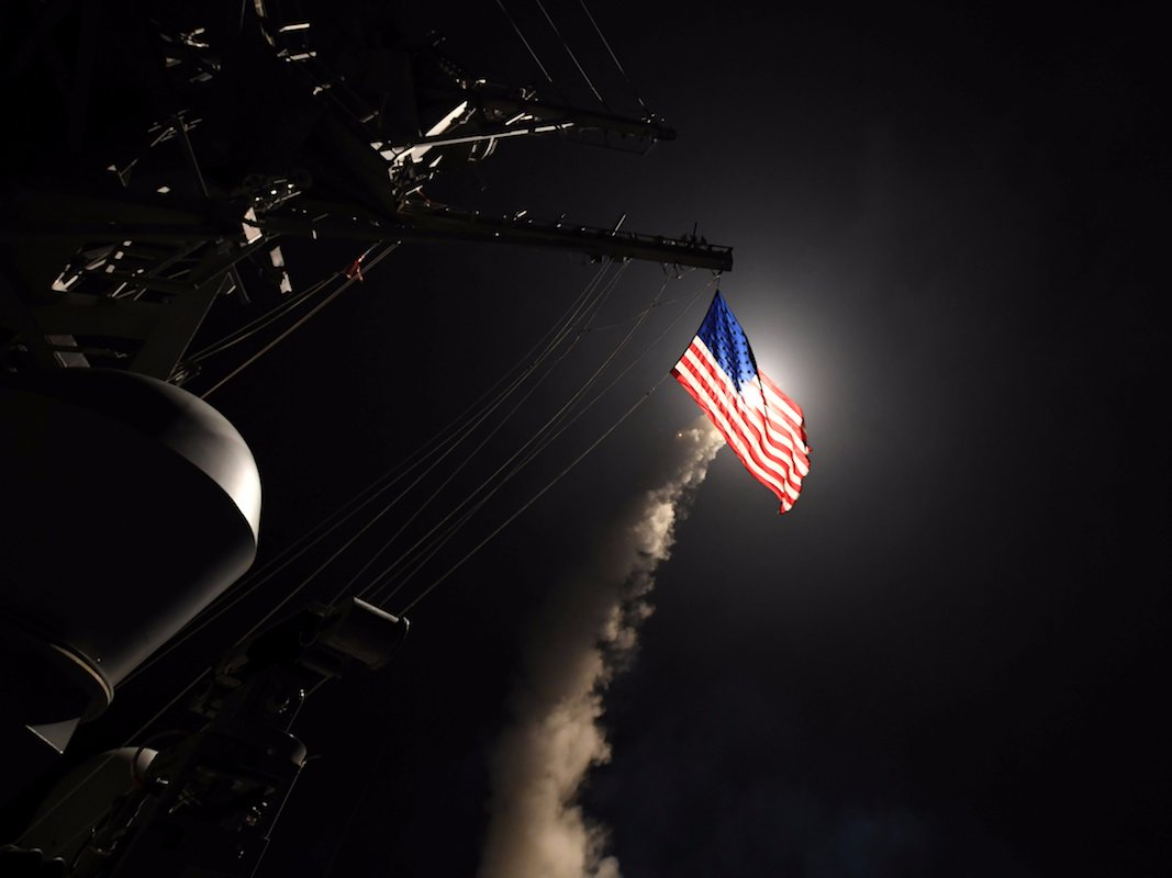 Tomahawk Missiles are deployed from a US destroyer in the Mediterranean.