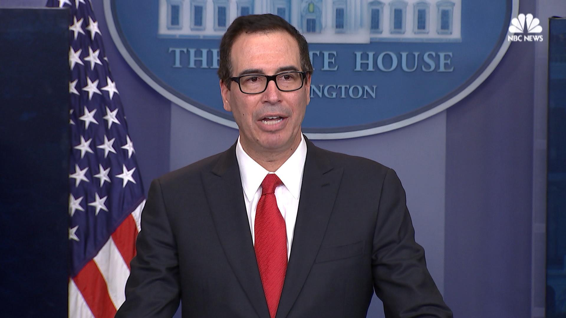Secretary of the Treasury Steven Mnuchin unveiling Trump's Tax Plan last Wednesday. Source: NBC
