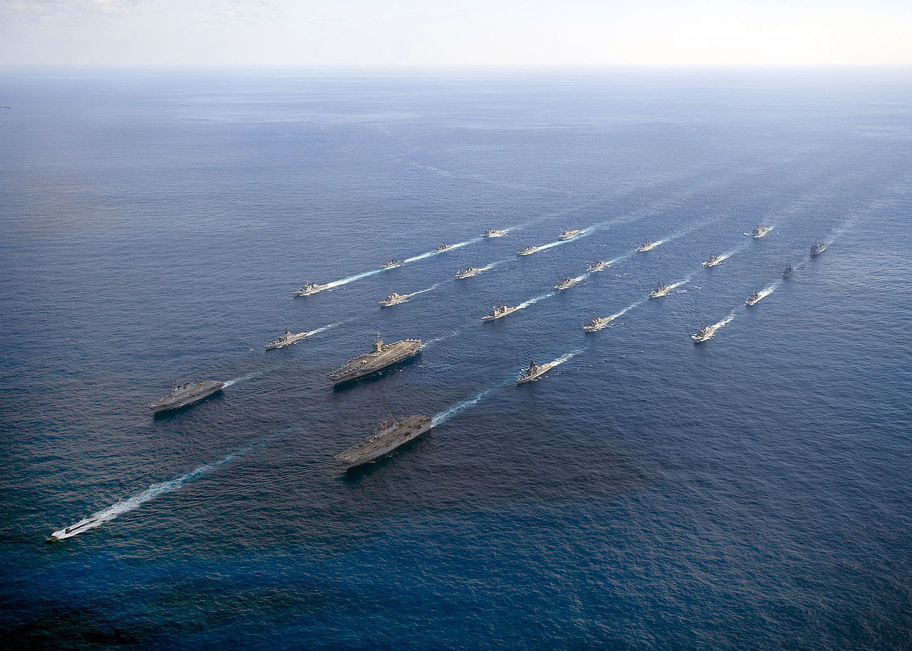 A US Carrier Strike Group conducting training exercise with Japan's Maritime Self Defense Force