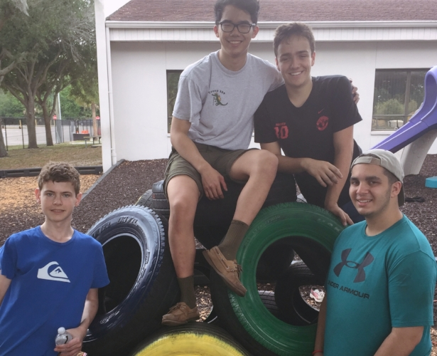 Pictured: (Left) John Flynn, Podcast Director (Left-Middle) Tristan Yang, Senior Editor in Chief (Right-Middle) Brayden Jenkins, Vice Chairman of the Tampa Bay Teenage Republican Society (Right) Mark Awad, Treasurer of the Tampa Bay Teenage Republican Society. Below is the completed Tire Dome.