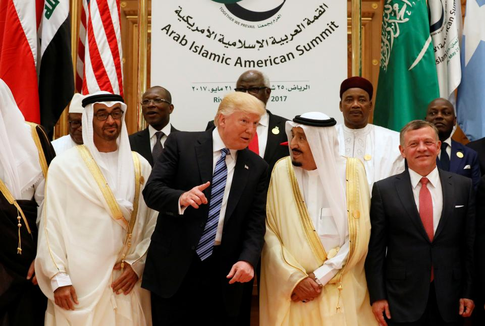 Jordan's King Abdullah II, Saudi Arabia's King Salman bin Abdulaziz Al Saud, U.S. President Donald Trump and the Abu Dhabi Crown Prince. Source: Newsweek