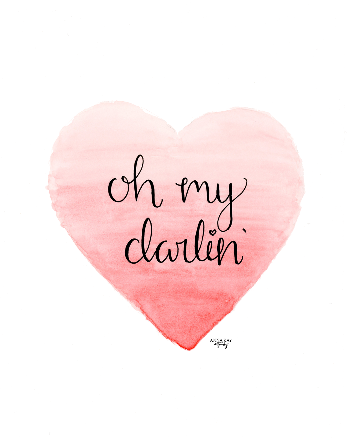 Ombre Watercolor Heart Darling Valentine Card Anna Kay Artworks.png