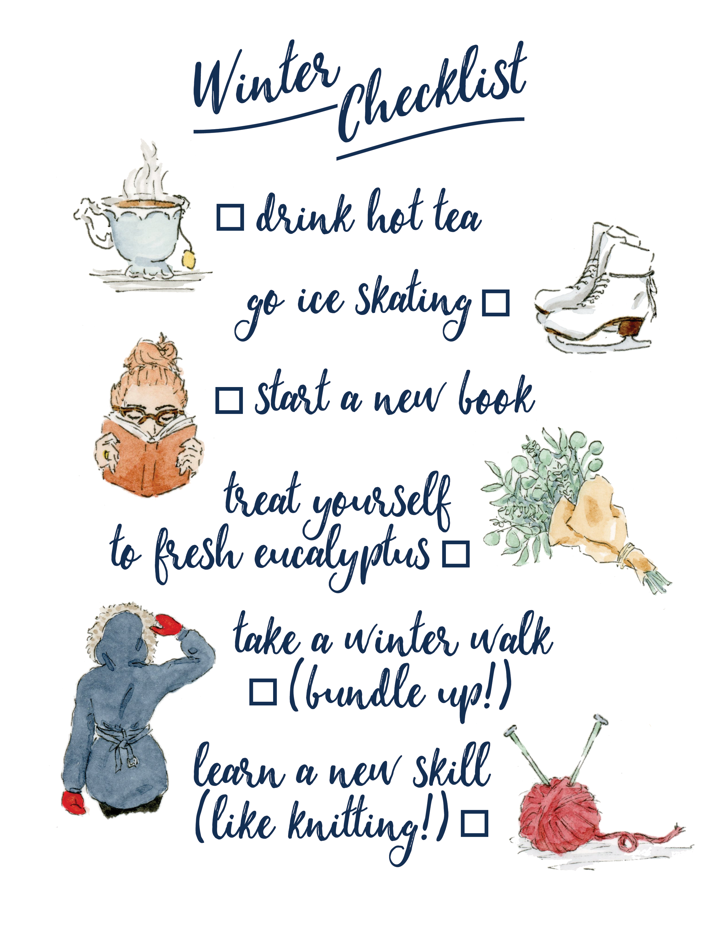 Watercolor Winter Checklist Anna Kay Arworks