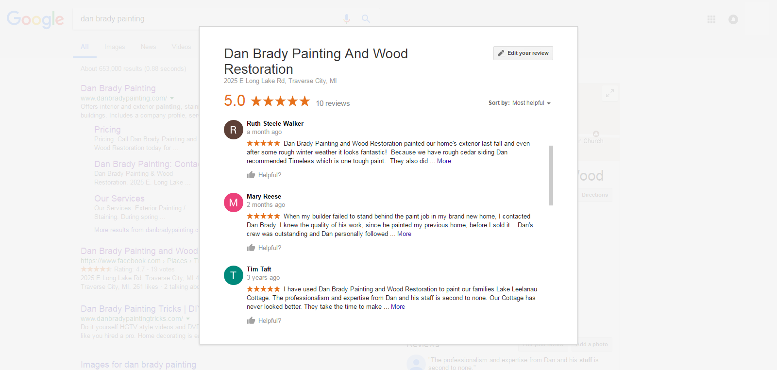This image links to Google reviews of Dan Brady Painting & Wood Restoration in Traverse City.