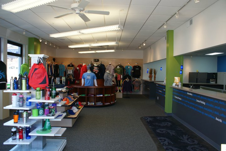 Our commercial painting experience includes this interior at JenTees in Traverse City.