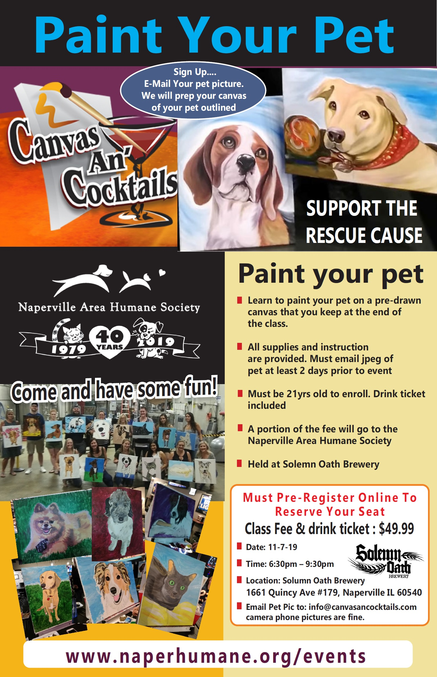 Paint Your Pet Event At Solemn Oath Naperville Area Humane Society
