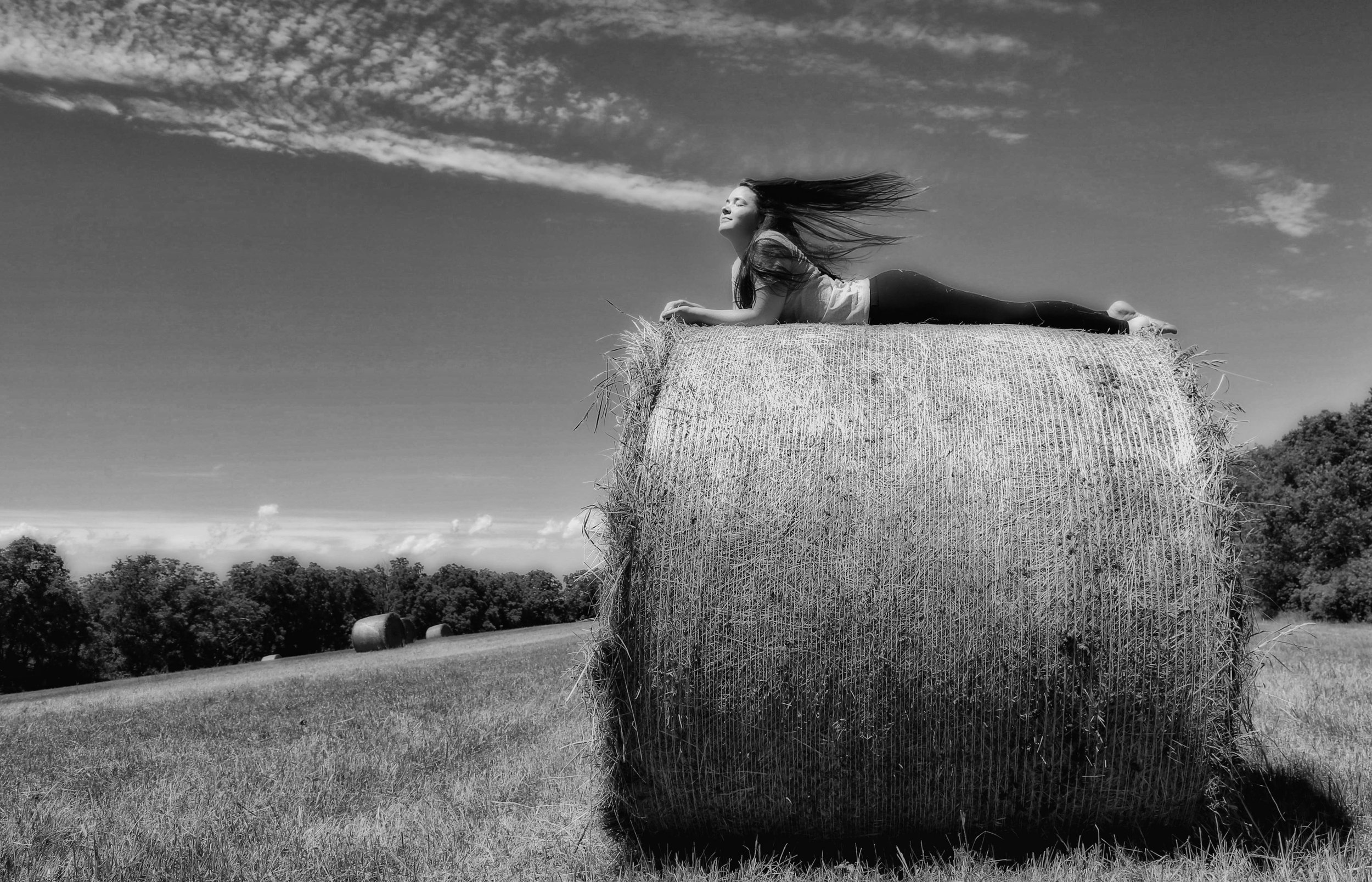 Katie on the Round Bale