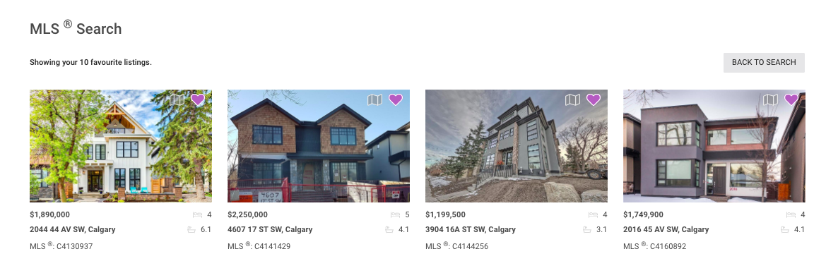 MLS® Search App in RealOffice360™ showing a Favourite list of Listings.