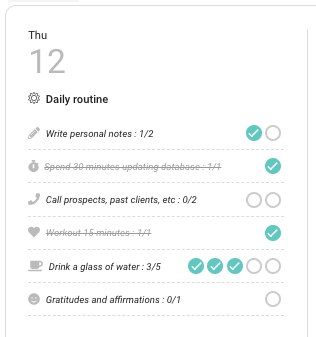 Daily Routine - Tasks Completed