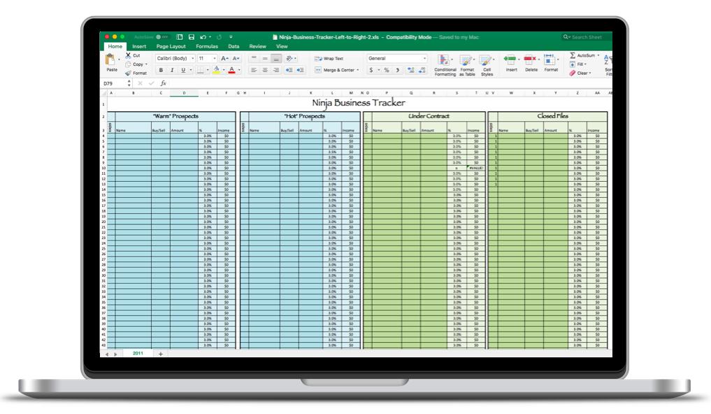Ninja Selling Business Tracker Spreadsheet