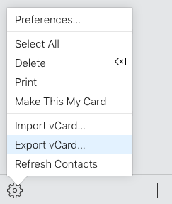 "Click on ""Export vCard"""