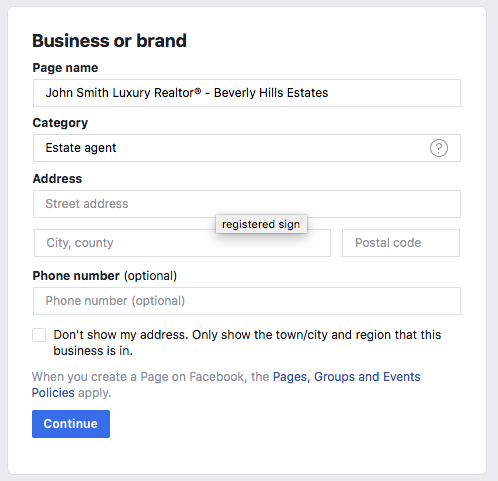 Real Estate Business Information Form - Facebook Business Page