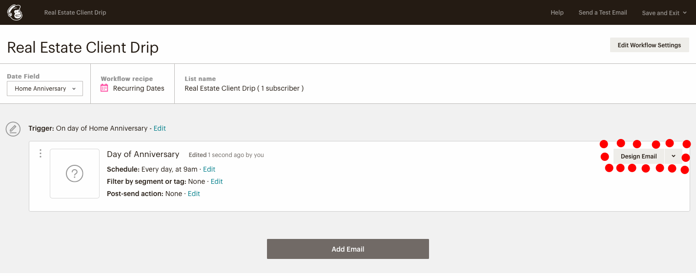 Last step of configuring a drip email campaign in mail chimp for real estate agents