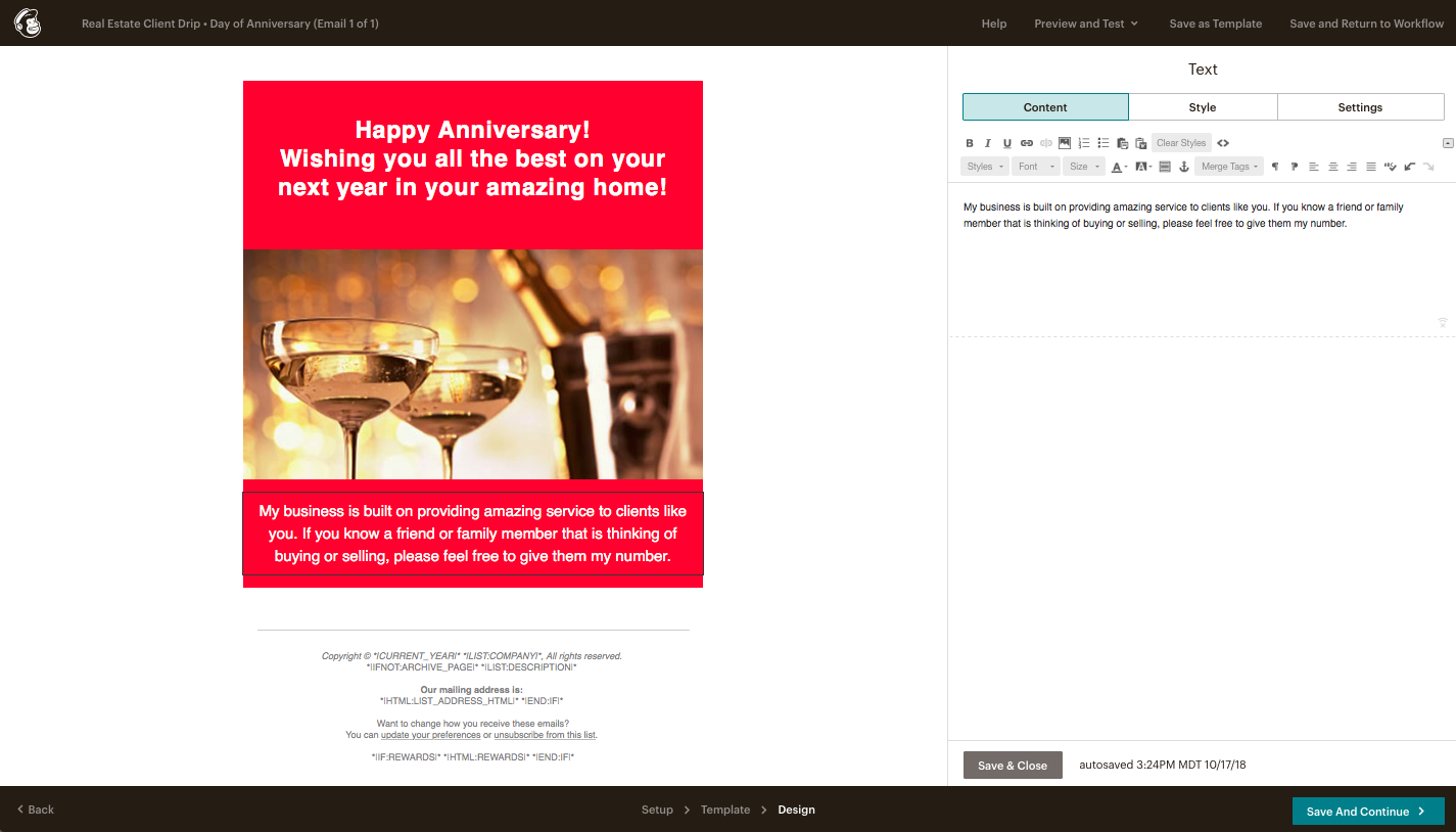 Client Anniversary Email for Real Estate Template