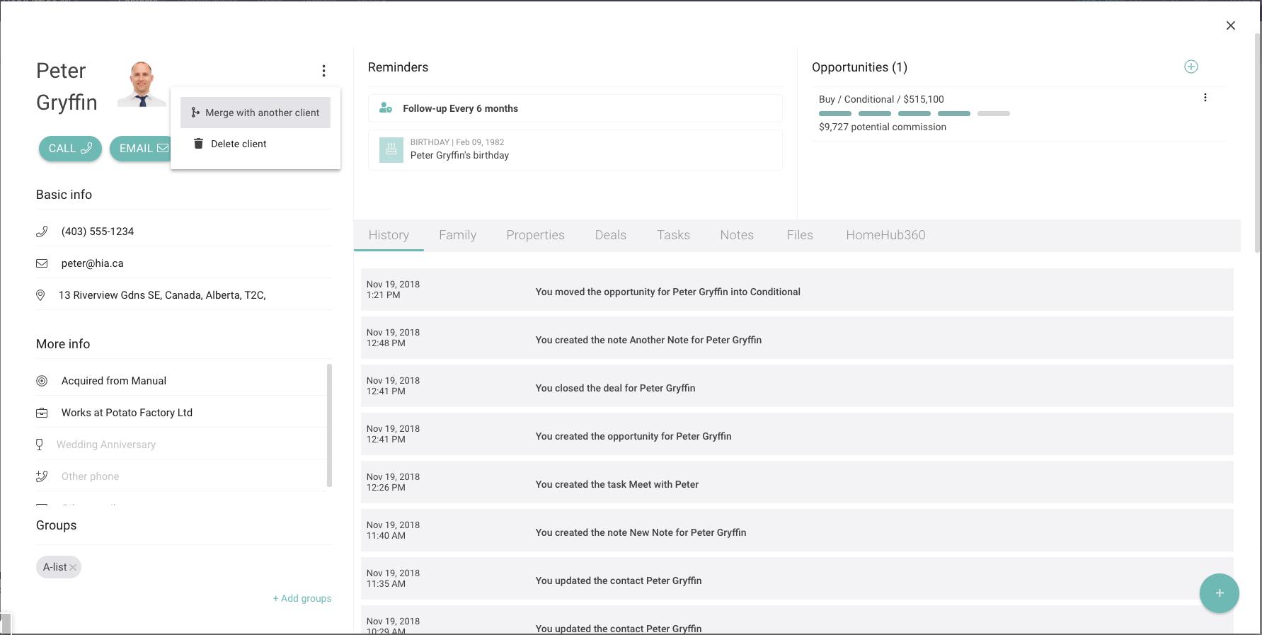 Merge Contact Profile on RealOffice
