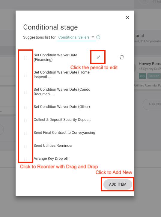 Edit, Add and Reorder Checklist