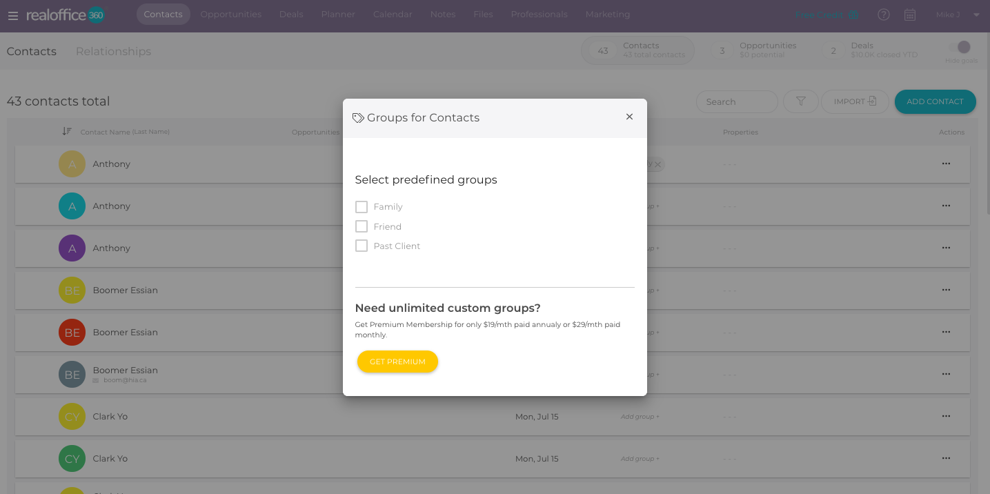 Adding Groups on Free plan with RealOffice360 CRM