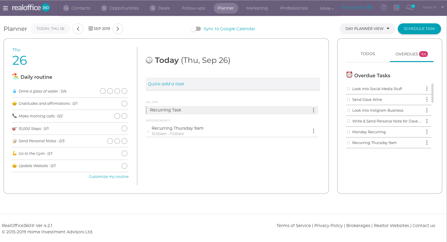 RealOffice360 Daily Planner