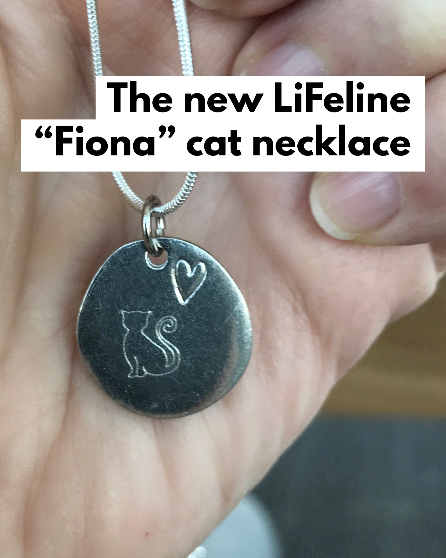 """The Fiona necklace - 225 kr - The design for this necklace was inspired by our own Fiona, who often looks out the window dreaming of the love of a forever home. The necklace features a hand-stamped solid metal charm (2mm thick) on a genuine silver-plated chain that is 46cm (18""""), but adjustable to 37cm (15""""). We only have 15 necklaces so if you would like one then please comment or direct message us here so we can confirm your order. After that, we will invite you to pay on Swish or Bank Giro. Thank you for supporting us and our work to help the homeless cats of Malmö have a chance at a better life."""