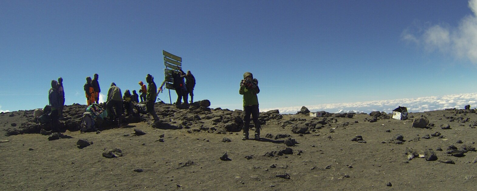 We spent the night in Crater Camp (elev: 18,800) after reaching the summit of Kilimanjaro on July 4th. I no memory of the next twelve hours but here I am taking a photo of Bill (who is taking a photo of me on his go-pro)