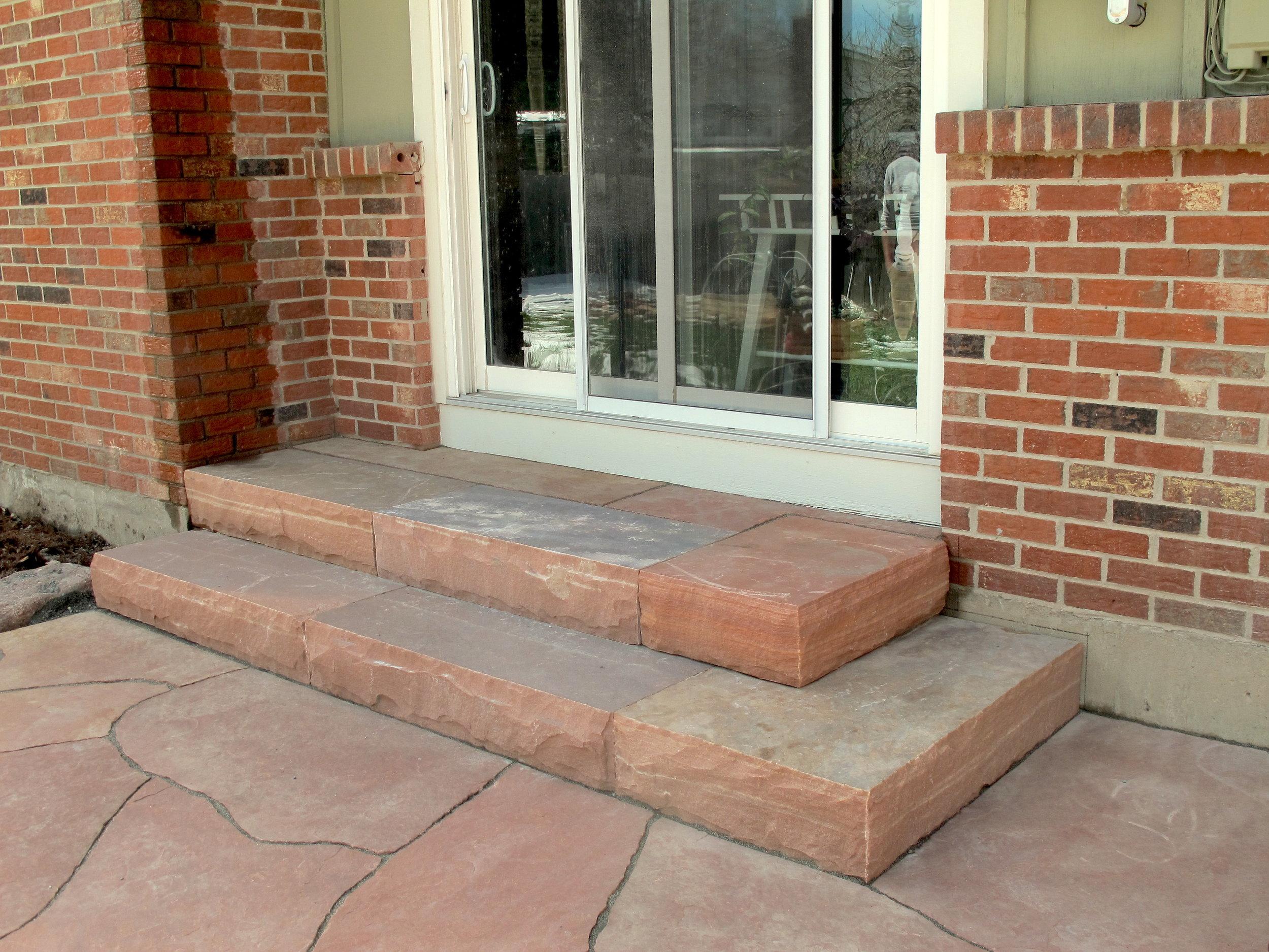 flagstone entryway | custom stairs