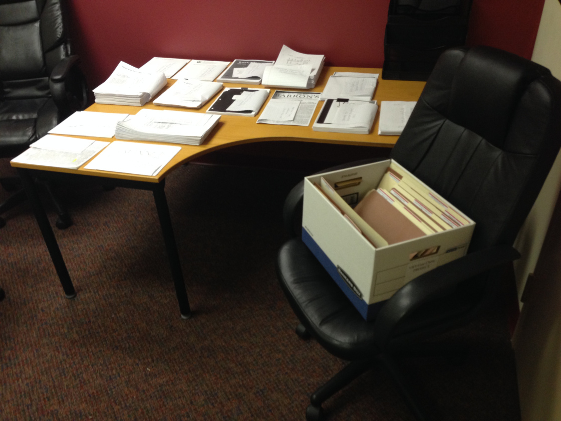 Documents being prepared for shipment at Taylor & Hammel offices in Alexandria, VA