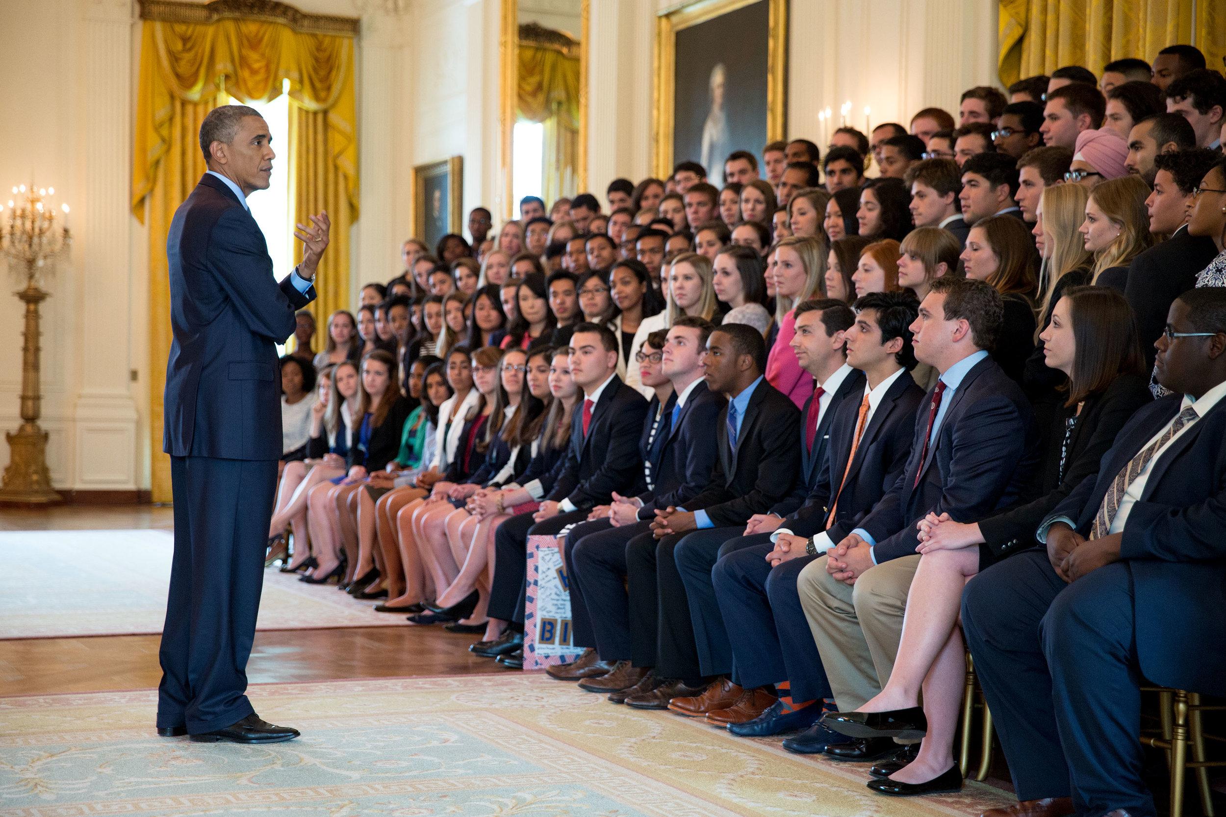 President Obama speaks to summer interns.