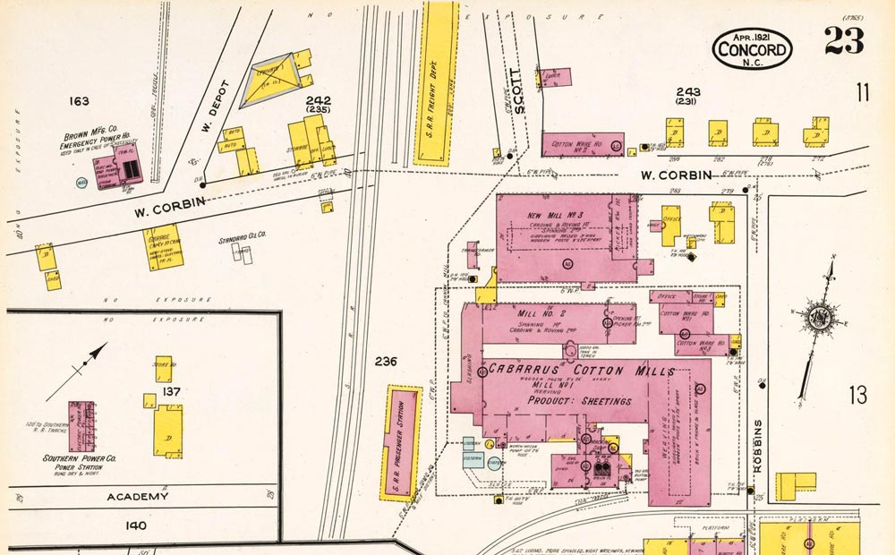 Excerpt from a 1921 Sanborn map of Concord, North Carolina. Sanborns are often quite detailed when it comes to industrial sites: on this map each building within the featured cotton mill is labelled. Please note that the site portrayed in this map was selected at random, and is not associated with any research that TRG has performed.  Photo credit: The Trackside Photographer