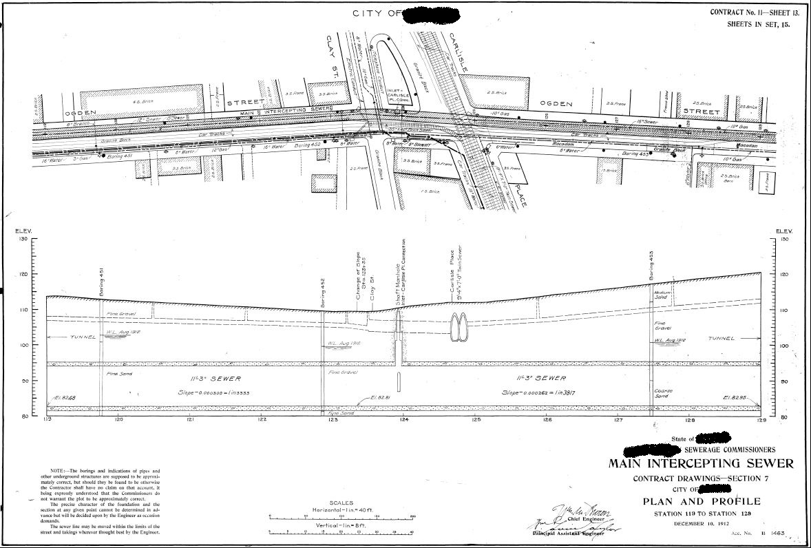 This sewer plan and others like it were obtained from a city archives collection. These plans helped us to understand the city approved changes and modifications to the Publicly Owned Treatment Works (POTW) that occurred over time. Please note that identifying information has been redacted by TRG.