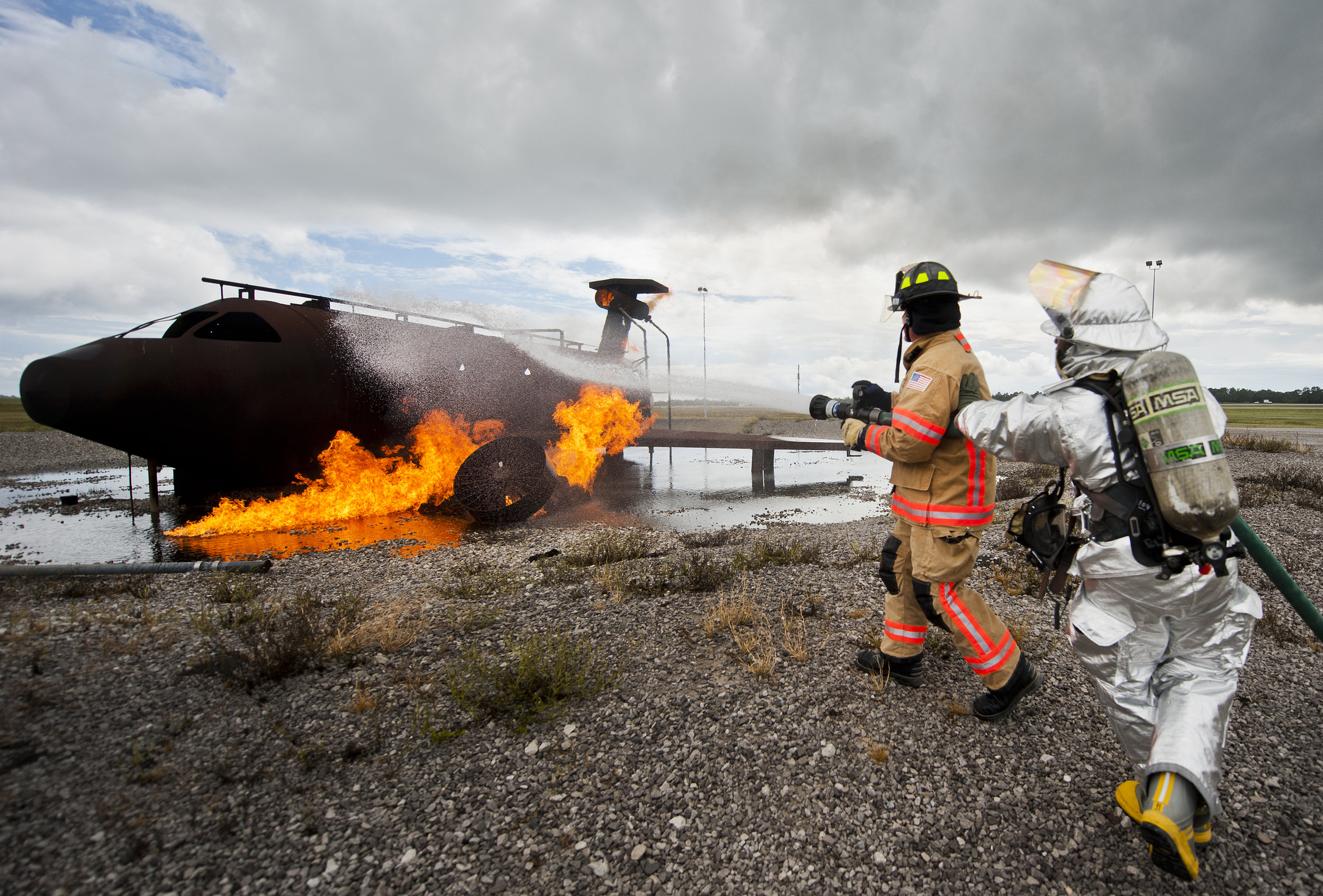 Newer jet fuel fire training facilities have been designed to capture wastewater for treatment. Older facilities in use through the 1980s were often crude and allowed AFFF to enter groundwater. The U.S. military adopted a variety of foam suppressants as AFFF was withdrawn from service. Source: U.S. Air Force.