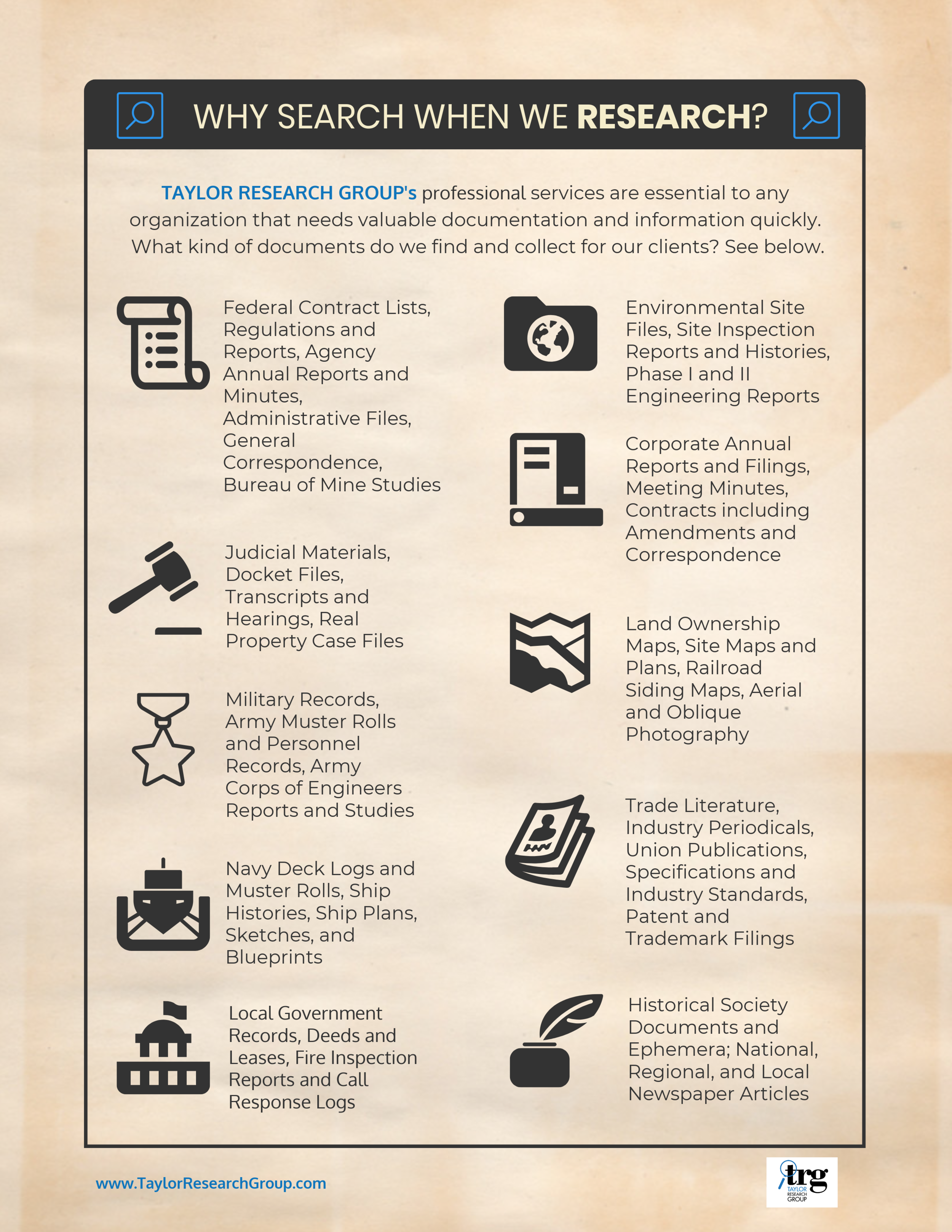 This infographic lists many of the documents we are routinely asked to locate and collect by our clients.