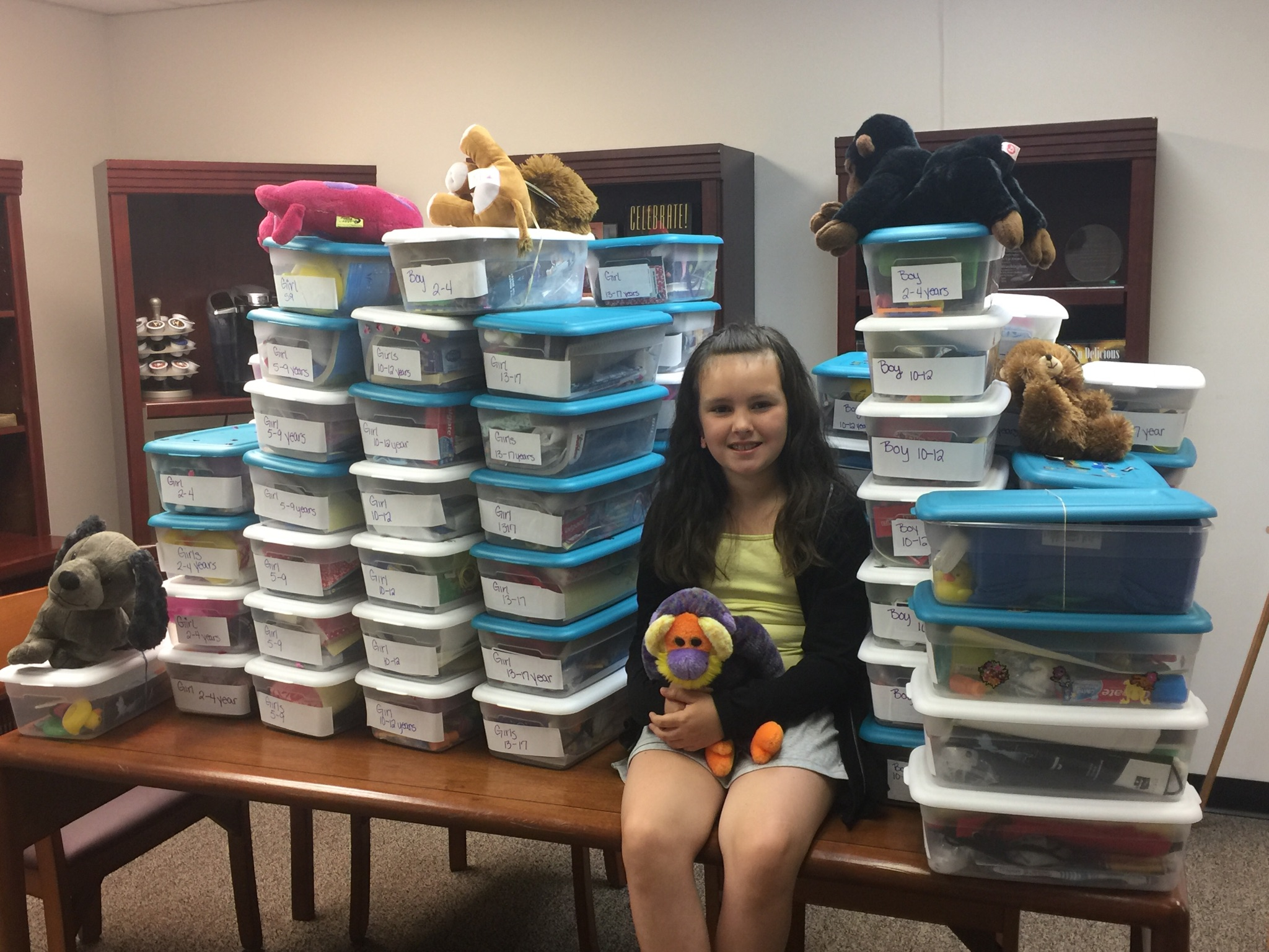 A sweet young girl named Wynona and her girl scout troop collected 80 Welcome Boxes for children in foster care.