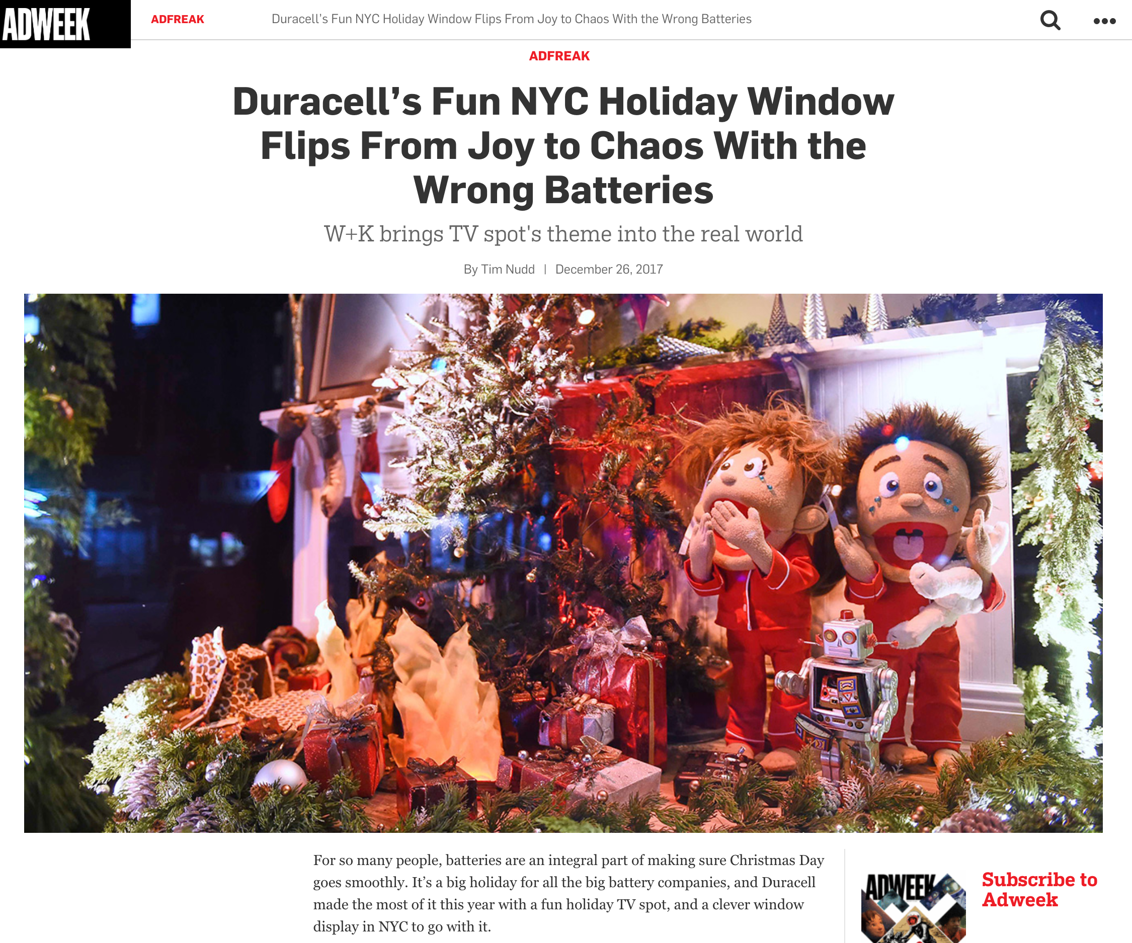 Adweek - Duracell Pop-up Holiday Window