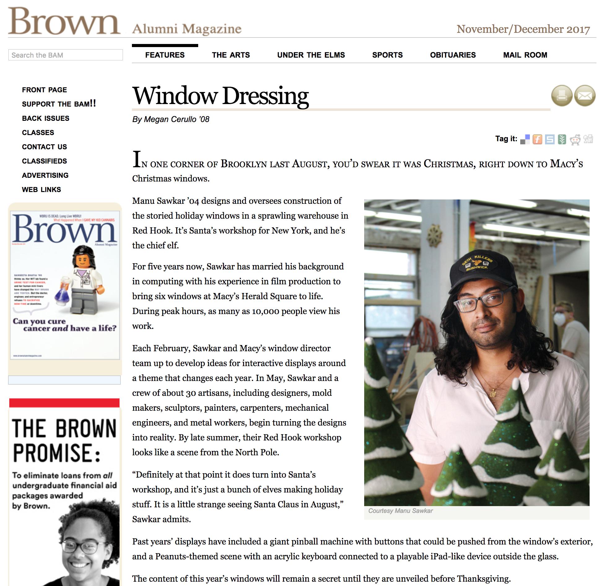 Brown University Alumni Magazine - Manu Sawkar:Feature Profile