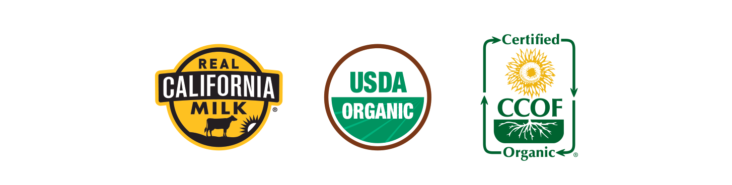 Real California Milk, USDA ORGANIC, Kosher-certified, CCOF ORGANIC