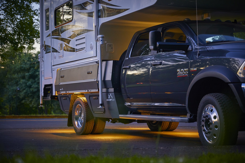 Camper Flatbed Integration Sherptek Sherptek Custom Gear Hauling Solutions Flatbeds Truck Decks And Truck Trays